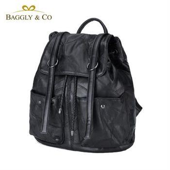 【BAGGLYCO】羊皮拼接率性後背包(黑色)
