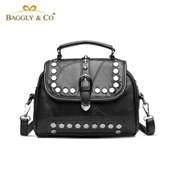 【BAGGLYCO】個性名媛羊皮鉚釘手提側背包(黑色)