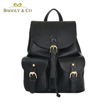 【BAGGLYCO】輕盈自在真皮荔枝紋後背包(黑色)