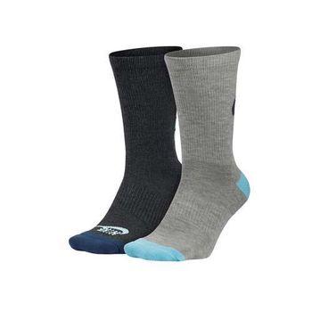 【NIKE】女2包裝中筒襪 -長襪 襪子 慢跑 路跑 灰水藍