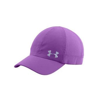 【UNDER ARMOUR】UA FLY FAST 女訓練帽-慢跑 帽子 防曬 紫銀