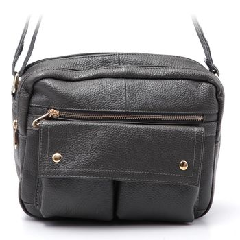 【HOUSEWIVES】日系時尚雙口袋側背牛皮包(共3色)