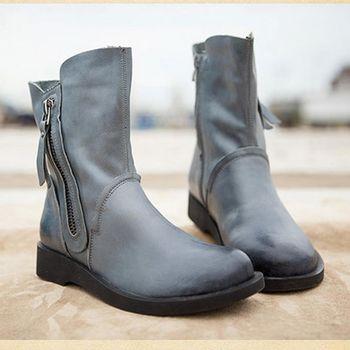 [背叛風情] 新款平底短靴復古擦色牛皮加厚女靴真皮加絨保暖靴子T15DXZ00823兩色