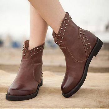 [背叛風情] 真皮復古女靴加厚保暖短靴女士圓頭馬丁靴牛皮平底靴T15DXZ00810兩色