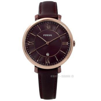 FOSSIL / ES4099 / JACQUELINE 華麗內斂日期真皮手錶 葡萄酒紅x玫瑰金框 36mm