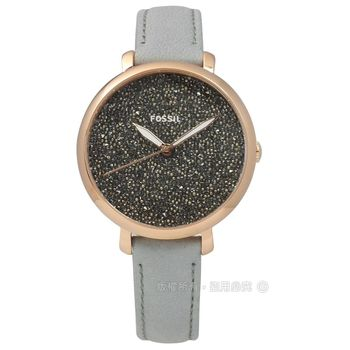 FOSSIL / ES4096 / Jacqueline 閃耀冬季真皮手錶 深灰x玫瑰金框x灰 36mm