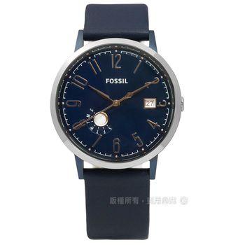 FOSSIL / ES4107 / Vintage Muse 復古繆斯女神日期星期真皮手錶 深藍色 39mm