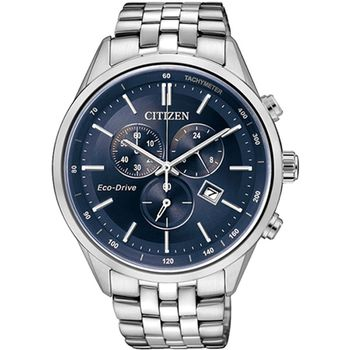 CITIZEN 星辰  Eco-Drive 商務精英三眼計時光動能腕錶(藍/42mm) AT2140-55L