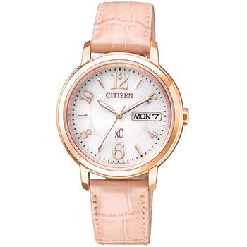 【CITIZEN 星辰】xC 粉色愛戀皮帶女用腕錶(33mm/EW2422-04A)