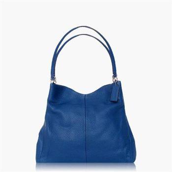COACH 實搭耐用 皮革 / 手提 / 肩背三層包_藍色