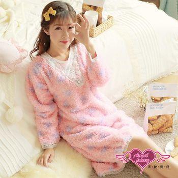 天使霓裳  保暖睡衣 毛絨圓點 法蘭絨日系蕾絲連身睡衣(粉紫F)