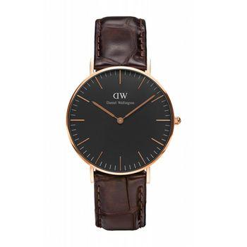 DW Daniel Wellington 經典咖啡壓紋皮革腕錶-金框/36mm(DW00100140)