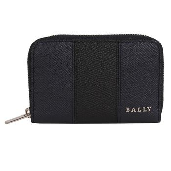 BALLY  皮革拉鍊手拿卡夾零錢包(黑藍)