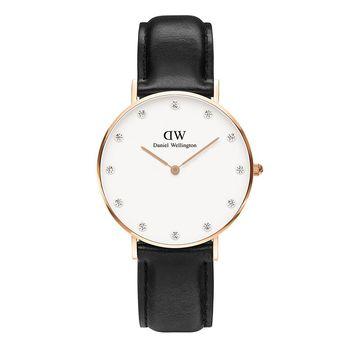 DW Daniel Wellington 施華洛世奇水晶黑色皮革腕錶-金框/34mm(0951DW)