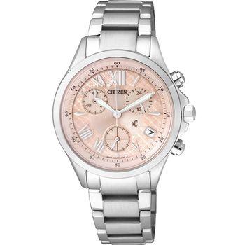 CITIZEN 星辰 XC系列 Eco-Drive 光動能 浪漫春意 三眼計時腕錶-粉橘/32mm/FB1400-51W