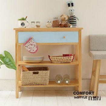 CiS自然行實木家具 電器櫃-碗盤櫃-雜貨櫃-置物櫃W90cm(原木鄉村藍色)