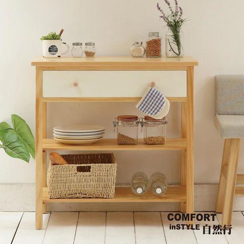CiS自然行實木家具 電器櫃-碗盤櫃-雜貨櫃-置物櫃W80cm(原木象牙白色)