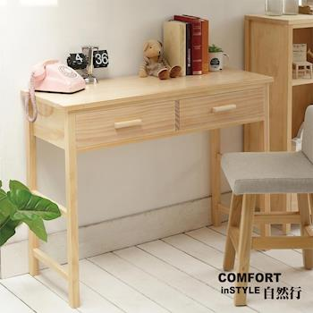 CiS自然行實木家具 書桌-電腦桌-化妝桌-邊桌W110cm(水洗白色)