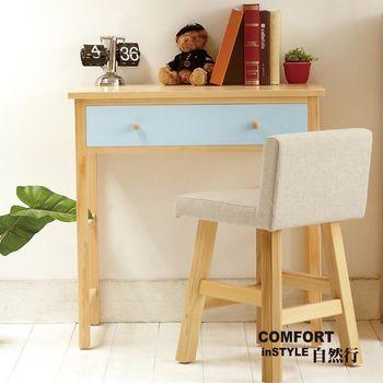 CiS自然行實木家具 書桌-電腦桌-化妝桌-邊桌W90cm(原木鄉村藍色)