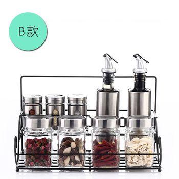 PUSH!廚房用品調味瓶調味罐調味盒胡椒罐鹽罐(瓶罐架套裝B組)D93