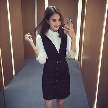 。DearBaby。時尚OL風 氣質襯衫單排釦背心裙二件式套裝組-黑色(預購)
