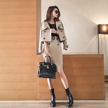 。DearBaby。韓版時尚名媛風二件式側開叉裙套裝-卡其色(預購)