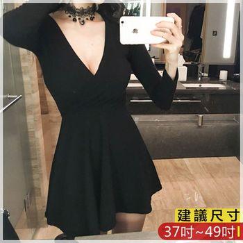 WOMA-W4709韓款性感V領修身洋裝(黑)WOMA中大尺碼洋裝W4709