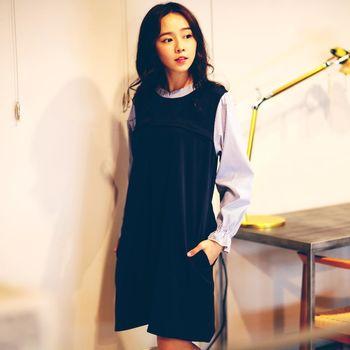 【時尚媽咪】條紋拼接假兩件設計洋裝