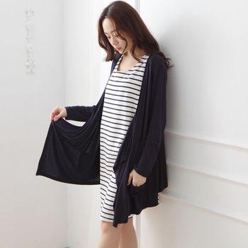【時尚媽咪】圓領條紋兩件式簡約洋裝
