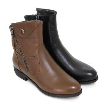 【GREEN PHOENIX】斜角剪裁翻領雙拉鍊全真皮低跟短靴-卡其色、黑色