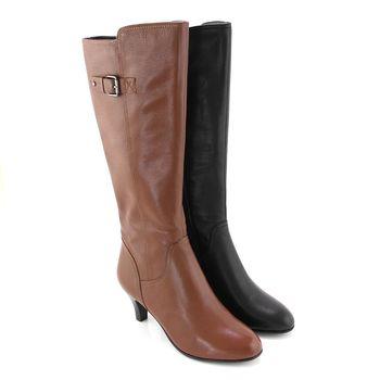 【GREEN PHOENIX】交叉壓花紋金屬皮扣全真皮高跟長靴-棕色、黑色