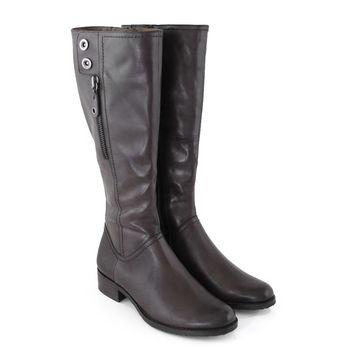 【GREEN PHOENIX】金屬釘扣裝飾拉鍊臘感牛皮細絨毛平底長靴-灰色