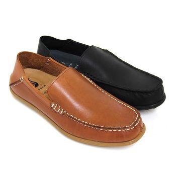 【GREEN PHOENIX】極簡素面套入式兩穿全真皮平底休閒鞋(男鞋)-棕色、黑色