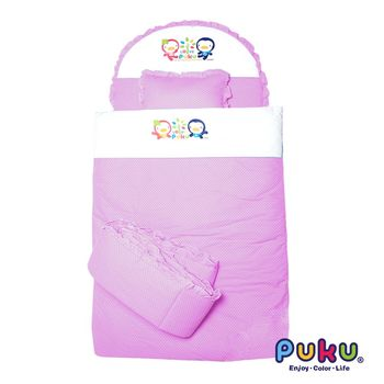 PUKU藍色企鵝 點點七件式寢具組-L 粉色