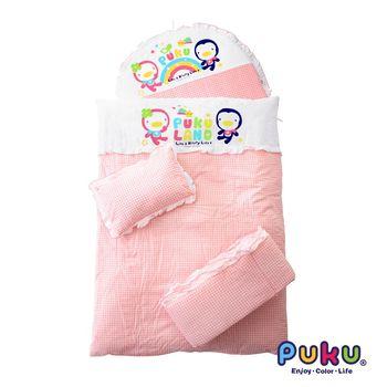 PUKU藍色企鵝 小藍七件式寢具組-L 粉色