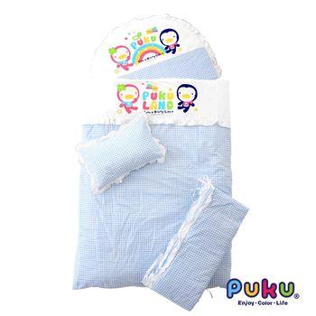 PUKU藍色企鵝 小藍七件式寢具組-L 水色