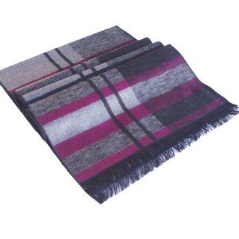 經典時尚100%蠶絲保暖圍巾(紫條紋)