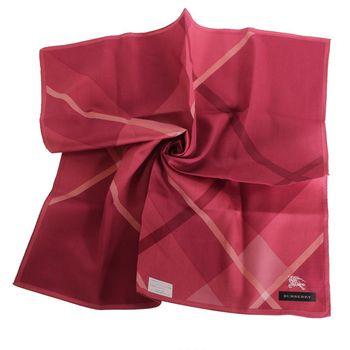 BURBERRY 帕巾-50X50-經典斜紋細條格紋(紅格)