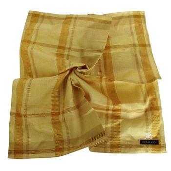 BURBERRY 帕巾-50X50-經典寬格紋(黃格)