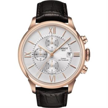 TISSOT 杜魯爾系列機械計時腕錶-玫瑰金框x咖啡/44mm T0994273603800