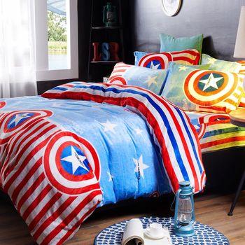生活提案-法蘭絨 雙人四件式 兩用毯被套舖棉床包組-星星隊長