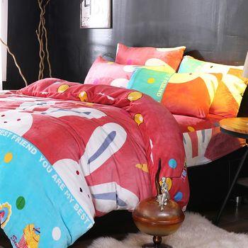 生活提案-法蘭絨 單人三件式 兩用毯被套舖棉床包組-小白兔