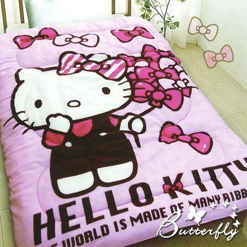 【HELLO KITTY】 凱蒂貓 法蘭絨暖暖被 蝴蝶飄飄樂
