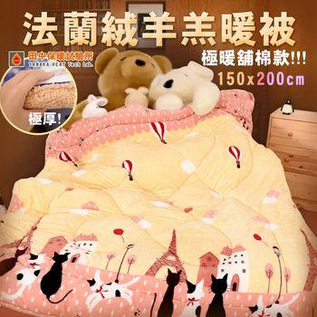 雙面法蘭絨羊羔暖暖 厚毯被 150x200cm 極暖鋪棉款 柔軟蓬鬆 寒流必備