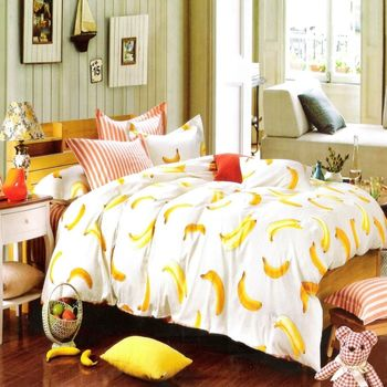 『Luo mandi 羅曼蒂』100% 棉雙人四件式被套床包組 (鮮果時光 6*7 )