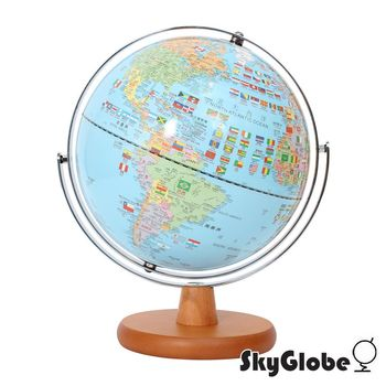SkyGlobe 10吋國旗版木質底座/會說話地球儀(中英文對照)