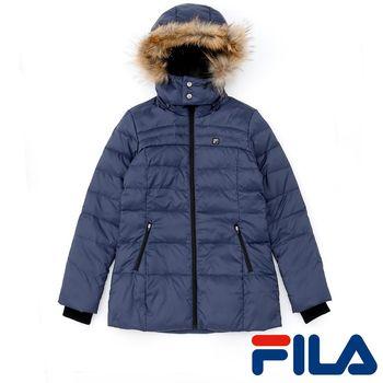 FILA女性連帽羽絨外套(典雅藍)5JKP-5432-DB