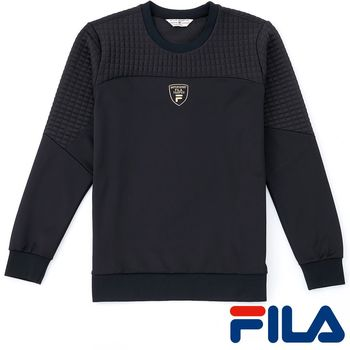 FILA男仕簡約LOGO吸濕排汗上衣(時尚黑)1TEP-5437-BK