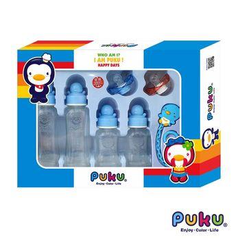PUKU藍色企鵝 卡哇伊玻璃奶瓶組