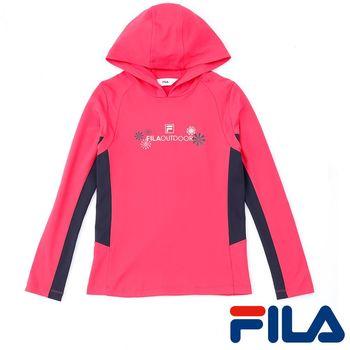 FILA女性吸排內刷毛連帽上衣(亮麗桃)5TEP-5106-PC